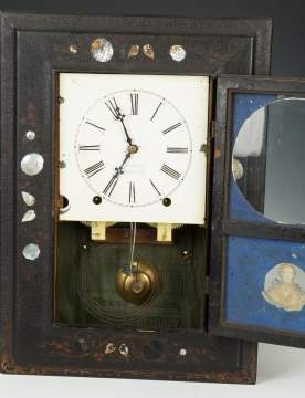 J. C. Brown Paper Mache, Lacquered and Mother-of-Pearl Shelf Clock