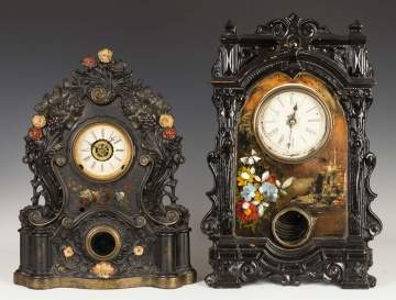 Two Victorian Iron Front Shelf Clocks
