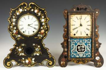 Beals & Co. and Brewster & Ingraham Paper Mache Shelf Clocks