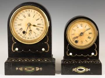 Two Terry Clock Co. Iron Front Shelf Clocks