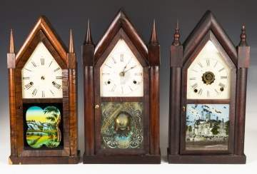 Three Various Steeple Shelf Clocks