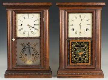 Two Ripple Front Cottage Shelf Clocks