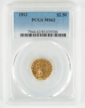 1912 Two and a Half Dollar Indian Head Gold Coin