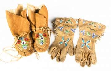 Pair of Native American Beaded Buckskin Moccasins  and Gloves