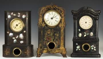 Three Iron Front Shelf Clocks