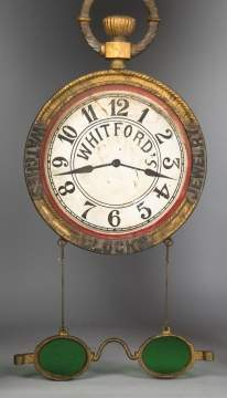 Whitford's Clock, Watches & Jewelry Trade Sign  with Glasses