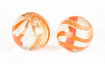 Two Vintage Gold Lutz Marbles