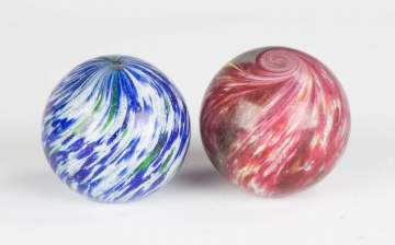 Two Large Vintage Onion Skin Marbles