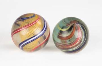 Two Large Vintage Swirl Marbles