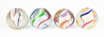 Four Vintage Open Core Swirl Marbles