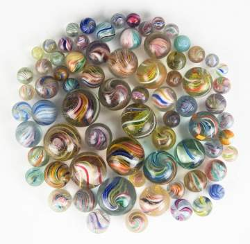 Large Group of Vintage Swirl Marbles