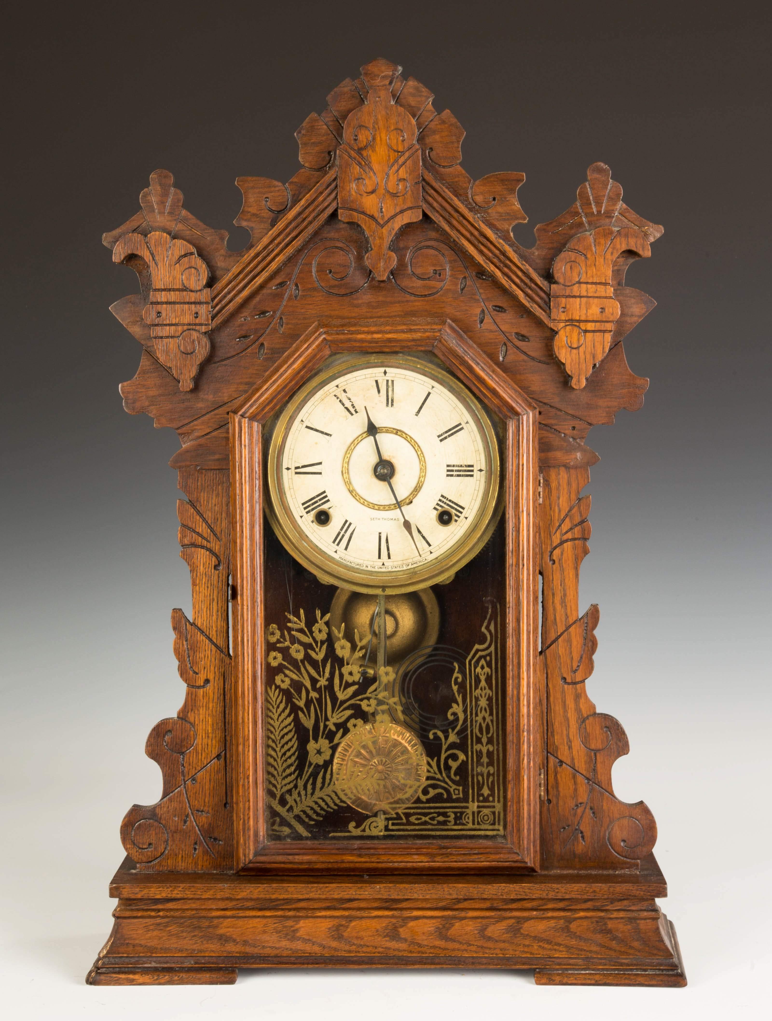 Seth Thomas Oak Kitchen Shelf Clock Cottone Auctions