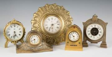 Group of Various Brass Shelf Clocks