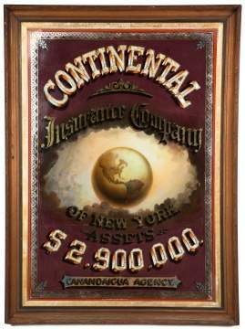 Continental Insurance Company of NY, Canandaigua  Agency Reverse Painted Advertising Sign