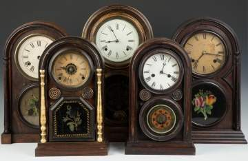Five Round Top Shelf Clocks