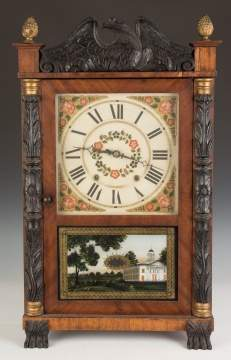 George Mitchell Carved Column and Splat Shelf  Clock