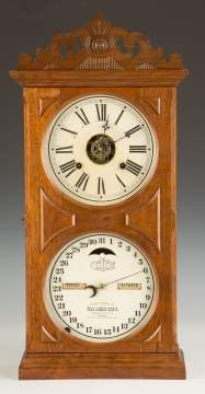 Ithaca Double Dial Calendar Shelf Clock