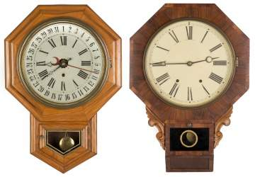 Two Schoolhouse Clocks