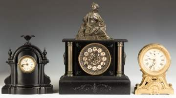 Three Victorian Iron Shelf Clocks