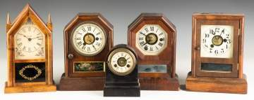 Group of Miniature Cottage Clocks and a Terryville  Iron Front