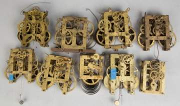 Group of Various Brass Clock Movements