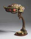 Unusual Austrian Bronze & Jeweled Table Lamp