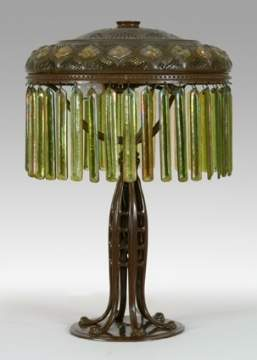 Fine Tiffany Moorish Table Lamp w/Jacob's Ladder Base
