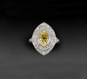 Black Starr & Frost Vintage Platinum & Yellow Diamond Ring