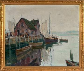 "Anthony Thieme - (American, 1888-1954) ""A Grey Day, Gloucester Harbor"""
