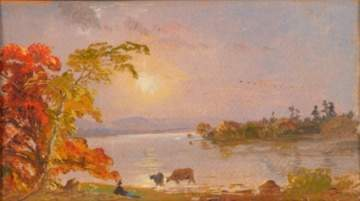 Attributed to Jasper Francis Cropsey, Miniature Sunset Scene.