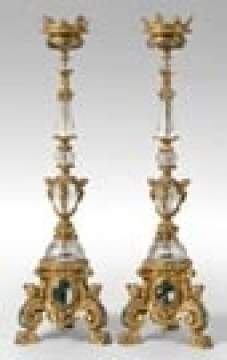 Bronze & Rock Crystal Candelabras