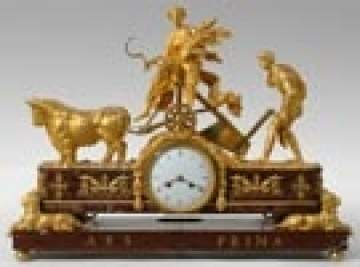 Empire Ormolus Patinated Bronze Mantle Clock
