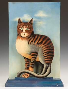 Sergio Bust A. Mante (Mexican) Painting of a Cat