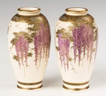 Japanese Porcelain Vases with Wisteria