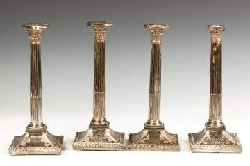 Set of Four Sheffield Silver Plate Candlesticks