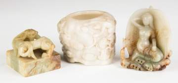 Three Pieces of Chinese Carved Jade