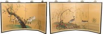 Pair of Painted Japanese Folding Screens