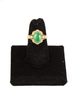 18K Gold, Jade and Diamond Ring