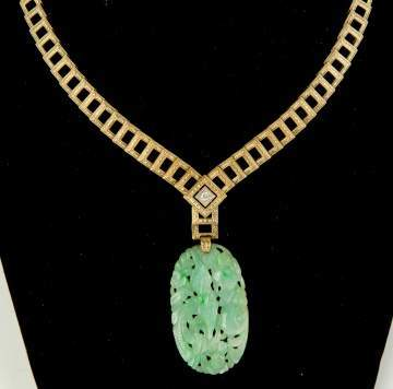 14K Gold Necklace with Carved Jade Pendant
