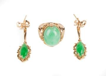 14K Gold and Jade Ring and Earrings