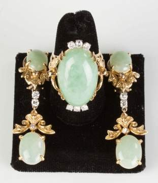 Vintage 14K Gold, Jade and Diamond Ring and Earrings