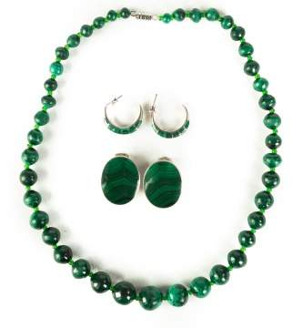 Malachite Necklace with Two Pair of Earrings