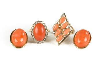 Two Natural Coral Rings and a Pair of Earrings