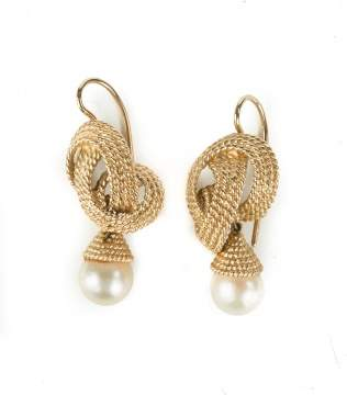 Vintage 10K Gold and Cultured Pearl Earrings