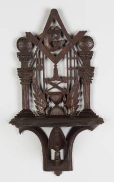 Masonic Carved Walnut Folding/Hanging Shelf