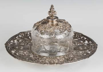 Sterling Silver Repousse Tray with a Cut Glass Cover