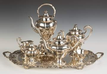 Mexican Sterling Silver 7 Piece Tea Set and Tray