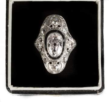 Ladies Edwardian Era Platinum & Pink Diamond Ring