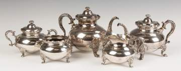Whiting Sterling Silver Five Piece Tea Set