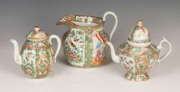 Chinese Rose Medallion Pitcher and Two Teapots